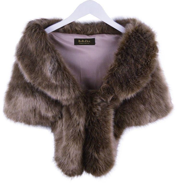 rorodox warm faux fur wedding shawl perfect for wedding party show rabbit fur brown at amazon. Black Bedroom Furniture Sets. Home Design Ideas