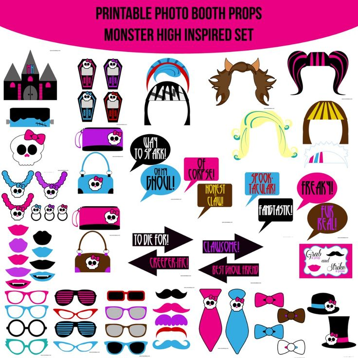 Instant Download Girly Monsters Monster High Inspired Printable Photo Booth Prop Set
