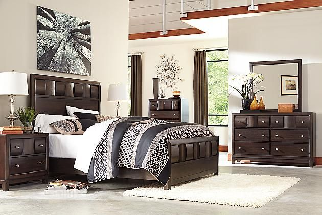 Dark Brown Chanella King Panel Bed View 4 Ashley
