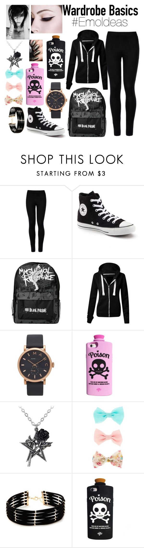 """Emo Clothing Ideas"" by alyssa-marie-bunag ❤ liked on Polyvore featuring Wolford, Converse, Marc Jacobs, Valfré and Forever 21"