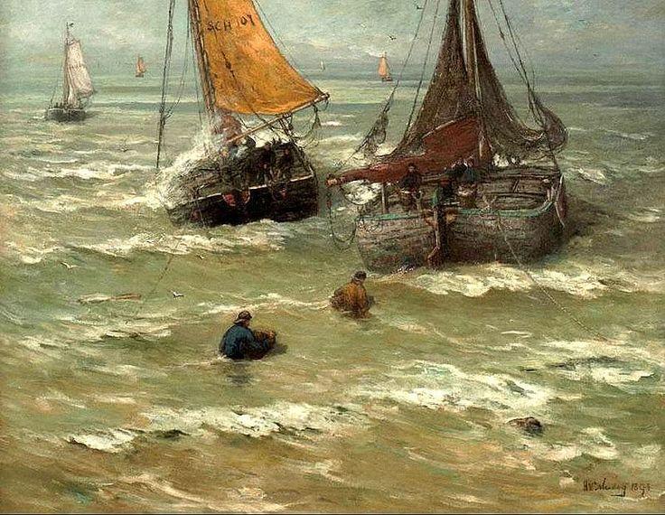 Hendrik Willem Mesdag (1831-1915) Klaar voor het vertrek, 1893. Twee bomschuiten in de branding, de linker gereed om te vertrekken, de rechter bezig met het lossen van een lading verse vis; in de branding twee visdragers met manden.
