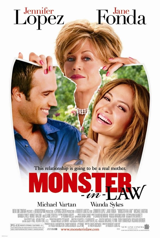 Monster-in-Law. Jennifer Lopez and Jane Fonda. Sadly I know every single line in this movie...ok maybe not so sadly you gotta love it. Best part is when she gives her that Georgia peach dress oh yeah karma's a bitch