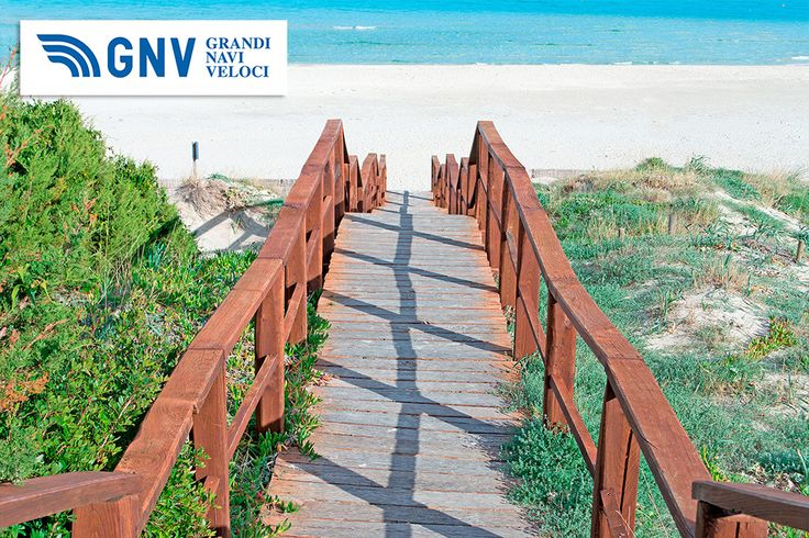 Wooden boardwalk leading to #La_Pelosa #white #sand.#Sardinia, #Italy Discover #GNV routes from/to #PortoTorres here: http://www.gnv.it/en/ferries-destinations/porto-torres-ferries-sardinia.html