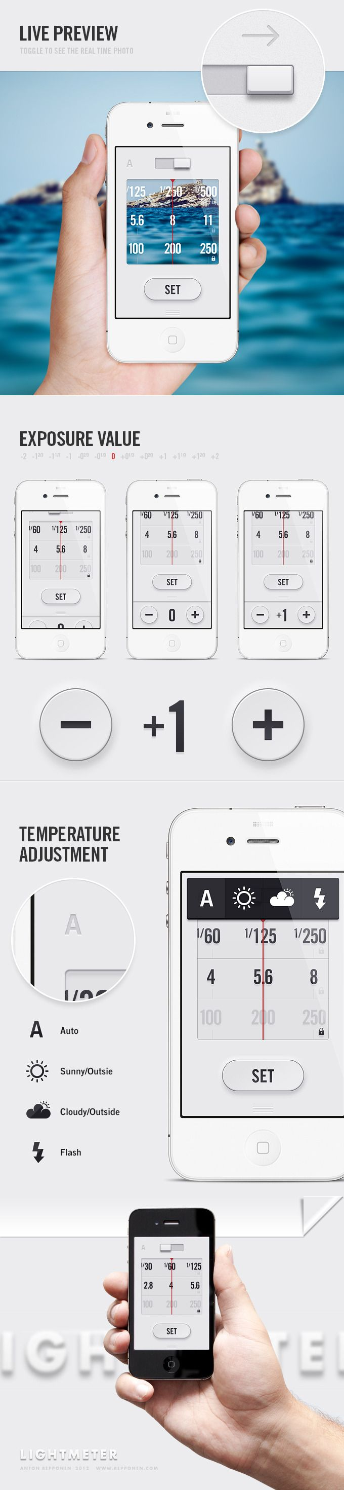 LightMeter App is a simple and easy to use light meter application for iPhone that will help you set your exposure right, especially if you're using manual cameras.