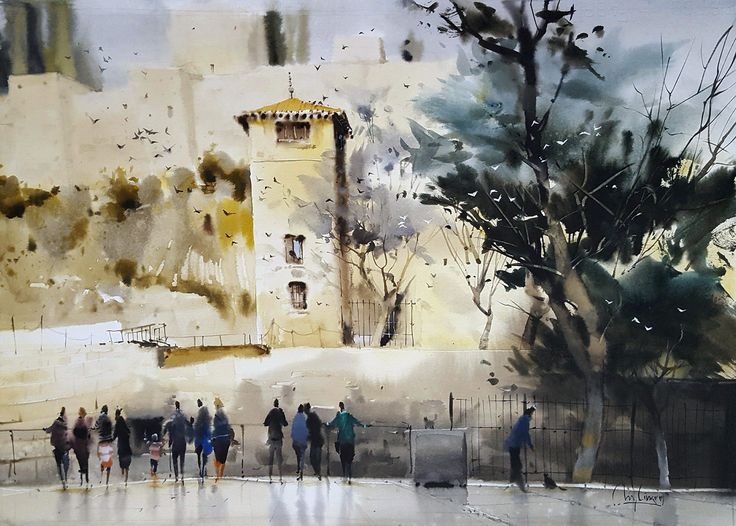 Miguel Linares Rios - summer evening in front of the alcazaba - Watercolor / paper 38 × 55 cm