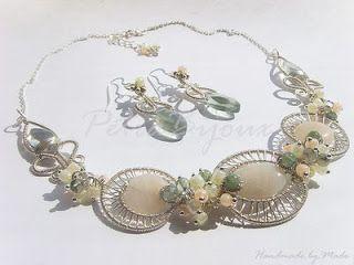 Petra Bijoux: La Primavera - set din argint, sarma argintata, peach aventurine, fluorit si agate moss
