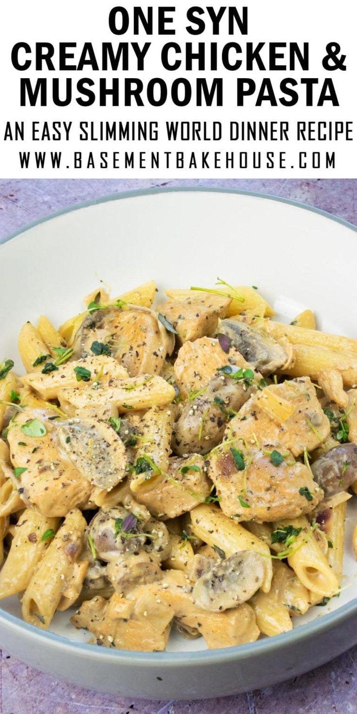 Pâtes crémeuses au poulet et aux champignons – Four de cuisson au sous-sol   – Slimming Recipes