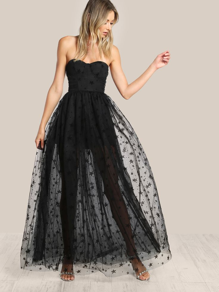 Shop Star Flock Mesh Overlay Strapless Bustier Dress online. SheIn offers Star Flock Mesh Overlay Strapless Bustier Dress & more to fit your fashionable needs.
