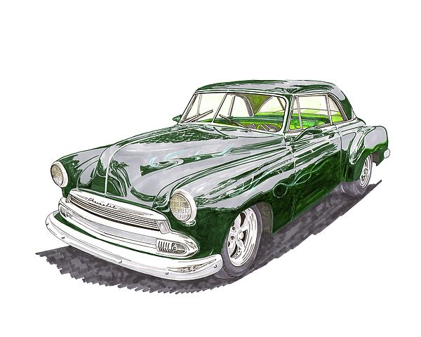 Watercolor painting of a 1952 Chevy Bel Air, Chevy custom, custom Chevy Bel Air, Chevy street rod, Chevy restro-rod, Chevy ghost flames, Chevy Show Car, Chevy customized, customized '52 Chevy