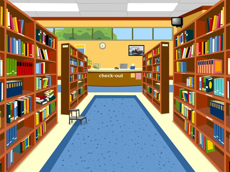 Library, an animated resource page with lesson plans and teaching tips, for Kindergarten to 3rd grade students, shows how to find and borrow books, newspapers, magazines, and music, from libraries.
