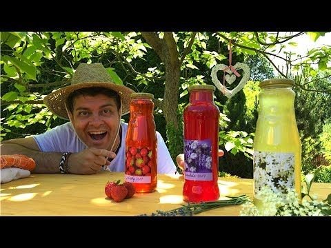 Make your own natural syrups from your garden - lavender, strawberry, elderflower - YouTube
