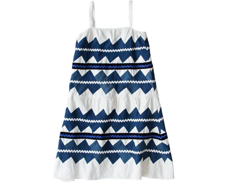 Dosa Lydia Dress in As Is. Zig-zag patchwork made with Indigo and White cotton and linen cloths and embellished with...