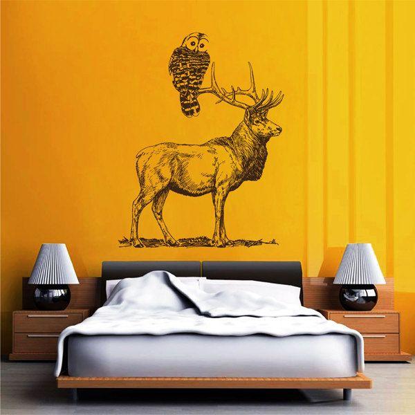kik2430 Wall Decal Sticker animal owl deer pencil drawing bedroom living room