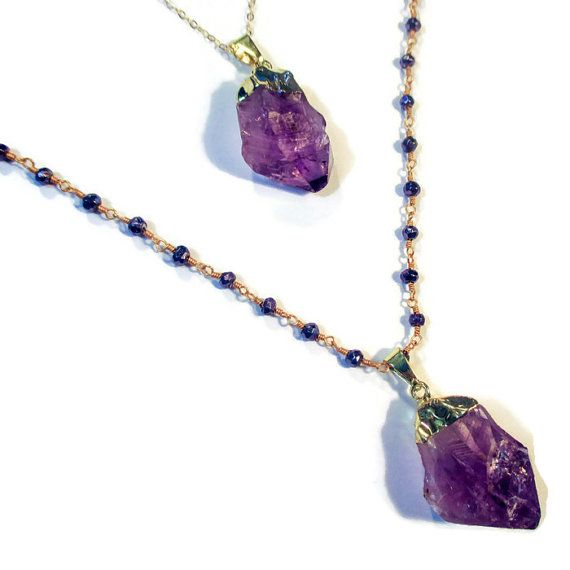 Raw Amethyst Necklace by IZZIEandOLIN on Etsy
