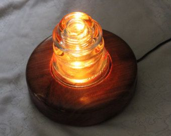 Power line insulator nightlight, glass insulators, lighting globe, lamp, night light, cedar lamps, globes,