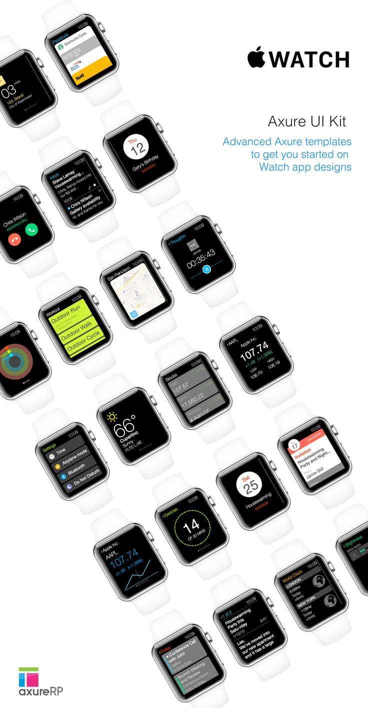 Apple Watch UI Kit for Axure RP Pro by UX Design Stuff on Creative Market