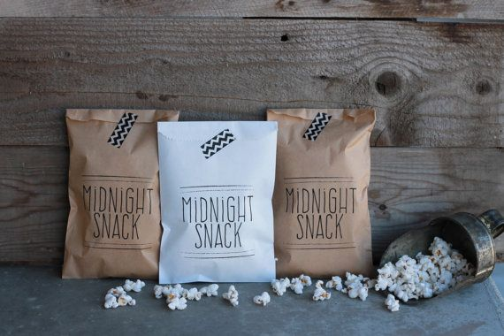 These Midnight Snack favor bags are a perfect way to send your guests home with a treat on your wedding day! These would also be great for an engagement party or rehearsal dinner! Use them for candy or cookie buffets or for any take home treat. Bags are flat, non-gusset, and food safe. They measure 5w x 7.5h. White or Kraft Brown. (Note: Iowa customers will need to pay a 7% sales tax.)   Thank you for visiting Give It Pretty! To return to main shop page…