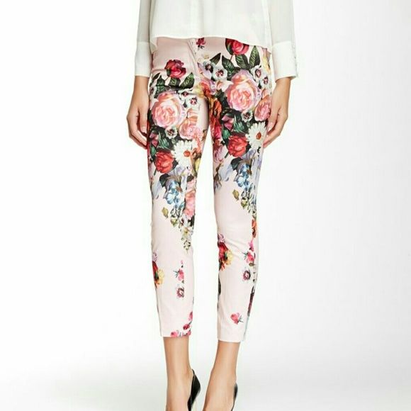 """☆Ted Baker - London - lined floral trousers ☆ NWT -  Ted Baker of London floral trouser pants... according to the tag,  the Ted size is 1 which equates to US size 4.... pale pink background, beautiful floral print.... fully lined...shell is 100 % polyester...lining is 95% polyester & 5% elastane....buttoned, waist is 32"""", inseam 28"""".... Ted Baker Pants Trousers"""