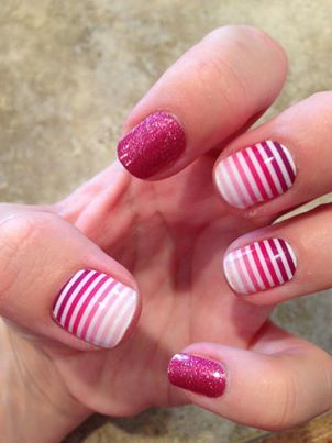 Go Pink! with some of my fave nail wraps -stripes, ombre and sparkle, OH MY! #VenusJN with #RaspberrysparkleJN