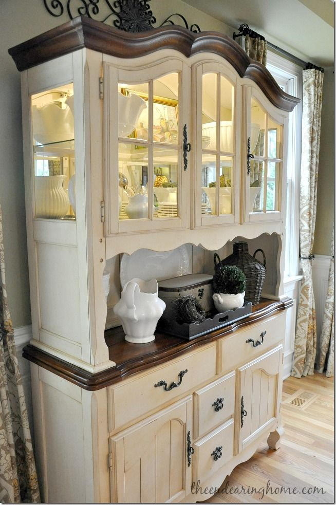 dining room hutch - can we paint hi-doll's furniture this way?  i like it.
