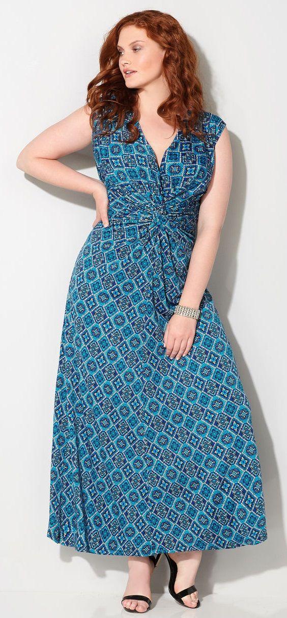 Plus Size Medallion Knot Front Maxi Dress