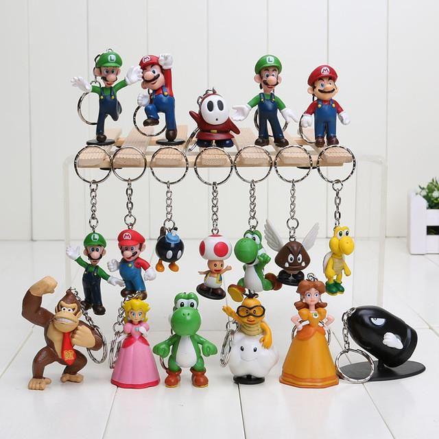 New arrival 18pcs/set Super Mario Bros Luigi youshi mario keychain Action Figures Toy Doll pendants keychain
