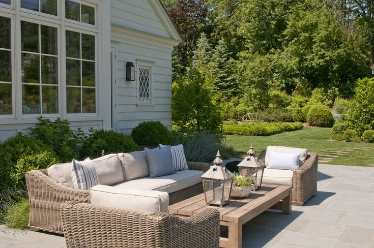 patio furniture, boxwoods/hydrangea/catmint plantings Nightingale Design