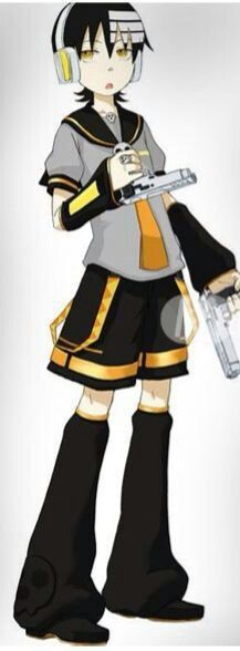 Death the kid cosplaying as Len Kagamine~