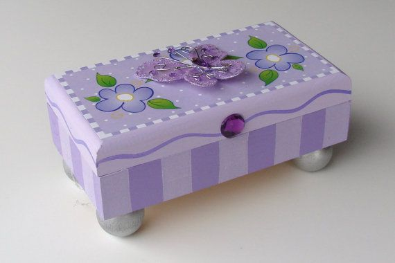 Purple Butterfly Treasure Box by FUNctionalArt4Kids on Etsy