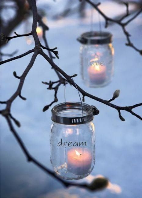 hanging jars with positive words ... so pretty