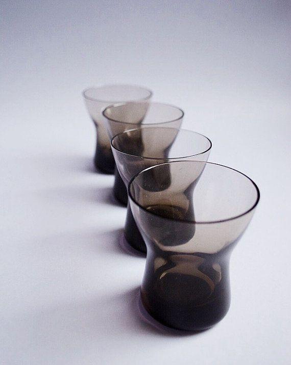 Grey Smokey Vintage Set of Four Shot Glasses by SomethingKitsch