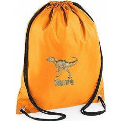 Personalised Childrens Gym Bags are Personalised by embroidering you childs name and Dinosaur embroidered image onto DrawString Gym Bag #baby #newborn #dance# gymbags #gym #children #kids #sport #gymnastics #personalised #gifts #kids #dino #dinosaur #jurassicpark #jurassic