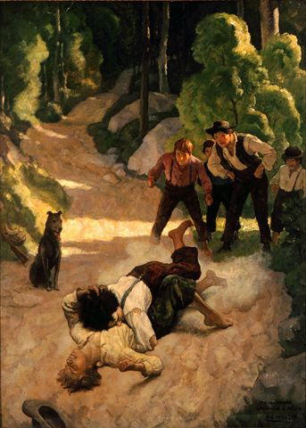 """""""Stick to him, little un,"""" shouted Tom.  1930 / 1931  Oil on canvas, 34 1/4 x 25 1/8 in. (86.9 x 63.8 cm)  Private collection - Color illustration f. p. 22, John Fox, Jr., The Little Shepherd of Kingdom Come (New York: Charles Scribner's Sons, 1931)"""
