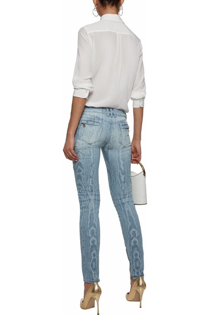 Faded moiré low-rise skinny jeans | BALMAIN | Sale up to 70% off | THE OUTNET