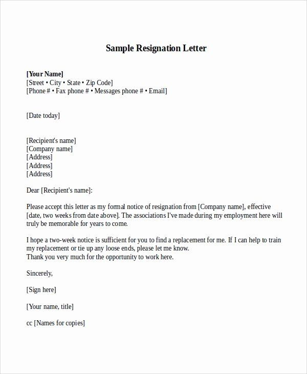 Sample Of Two Weeks Notice Letter Elegant Sample Resignation Letter With 2 Week Notice 6 Examples Resignation Letter Resignation Letter Sample Lettering