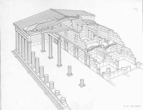 Stoa (στοά) is a Greek architectural term that describes a covered walkway or colonnade that was usually designed for public use. Early examples, often employing the Doric order, were usually composed of a single level, although later examples (Hellenistic and Roman) came to be two-story freestanding structures. These later examples allowed interior space for shops or other rooms and often incorporated the Ionic order for interior colonnades.
