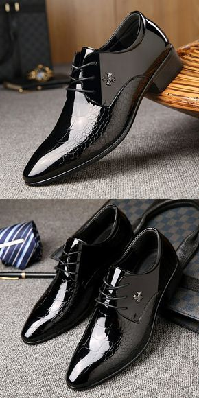 New Patent Leather Men Dress Shoes Pointed Toe Bullock Oxfords Business Office Style