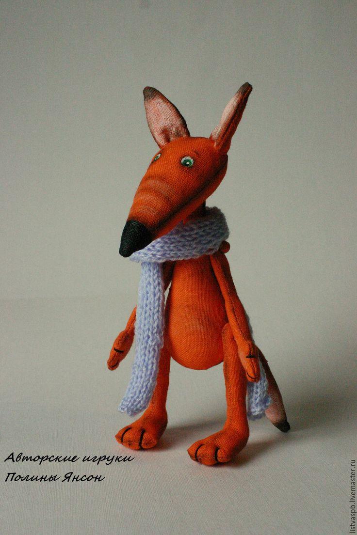Купить Лис текстильная игрушка ручной работы - рыжий, лисичка, лисенок игрушка, лисенок, лис