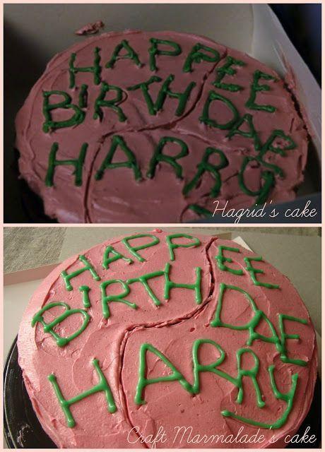 Harry Potter birthday cake - chocolate layer cake and raspberry buttercream