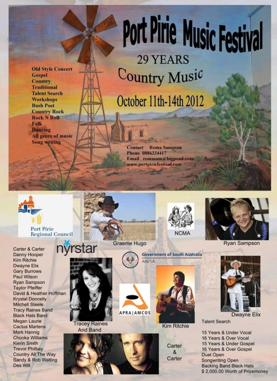 Port Pirie Music festival 2012  next October 11th – 14th, 2012