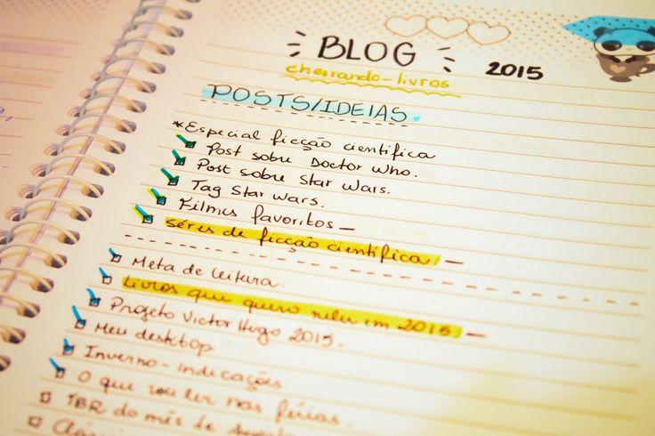 Organização: cadernos de leitura e blog   Cheirando Livros