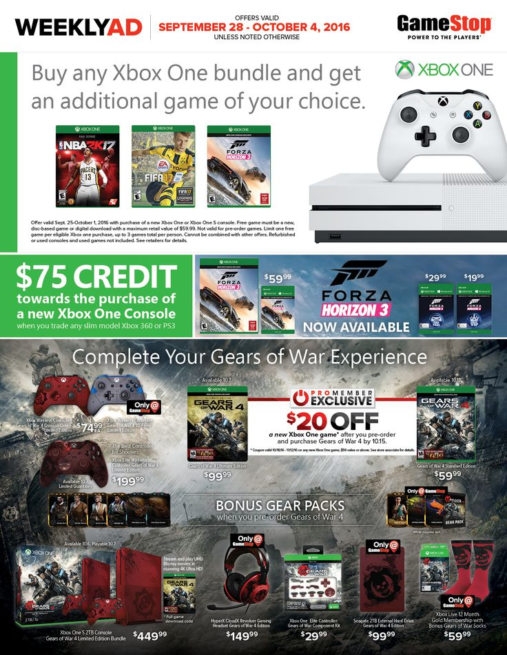 Game Stop Weekly Ad September 28 - October 4, 2016 - http://www.olcatalog.com/game-stop/game-stop-weekly-ad.html