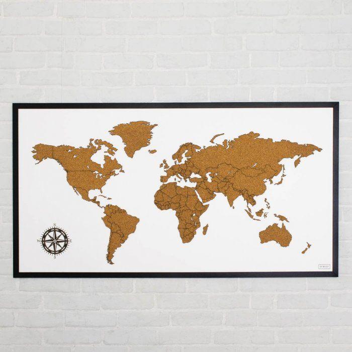 Korkova Zapichovacia Mapa Sveta Na Stenu S Ramom Map World Map