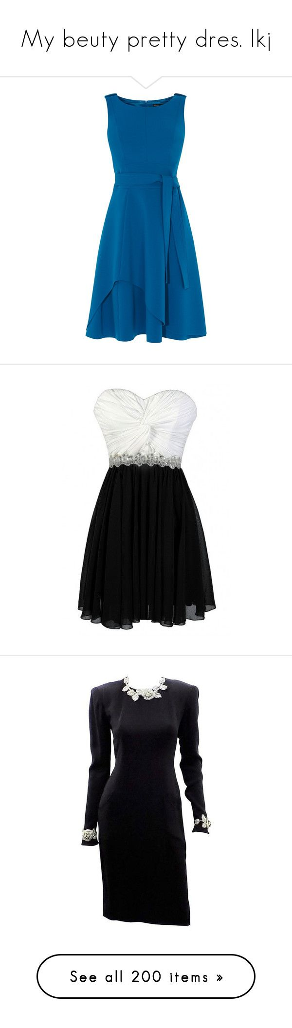 """""""My beuty pretty dres. lkj"""" by hella-von-felis ❤ liked on Polyvore featuring dresses, mini dress, full midi skirts, maxi dresses, fitted maxi dresses, blue maxi dress, black and white cocktail dress, chiffon cocktail dresses, embellished cocktail dress and strapless dresses"""