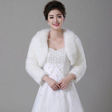 Wedding Faux Fur Boleros Long Sleeve Fur Wraps – USD $ 28.49