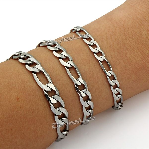Find More Chain & Link Bracelets Information about 7 11nch 6/7/9/11mm Mens Chain Silver Tone Flat Figaro Stainless Steel Bracelet Fashion Gift Jewelry DLKBM01,High Quality jewelry size,China jewelry flower Suppliers, Cheap jewelry box for charms from DaviesLee Fashion Store on Aliexpress.com