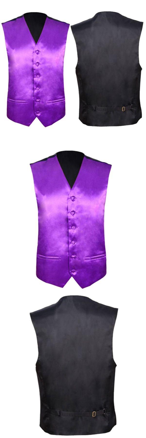 Mens Wedding Waistcoat Groom (Purple 3XL/UK 46)