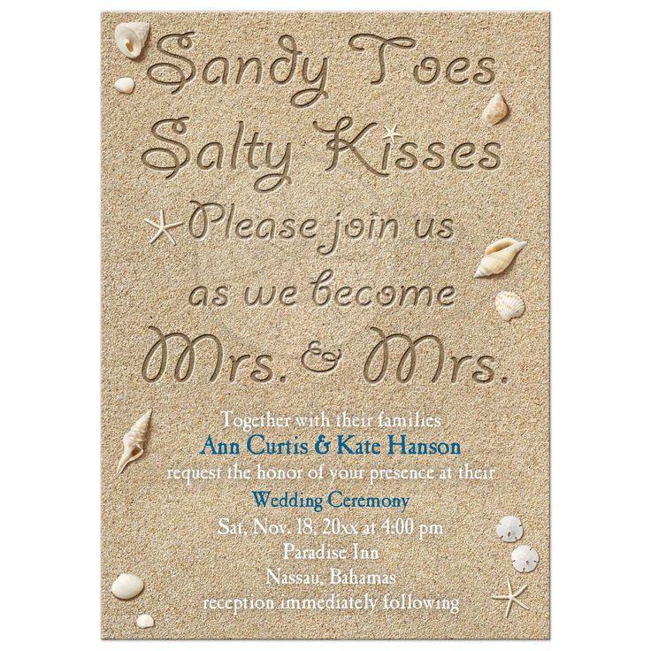 Same Sex Lesbian Beach Wedding Invitation #LoveWins #SameSexWedding