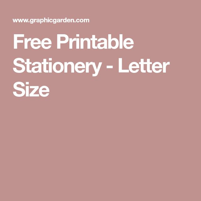 Free Printable Stationery - Letter Size