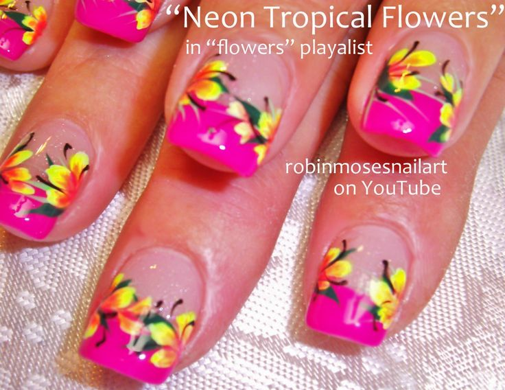 Nail-art by Robin Moses: Neon Bright Spring Flower Nail Art!, Neon Rainbow Nails! Flower Nails,